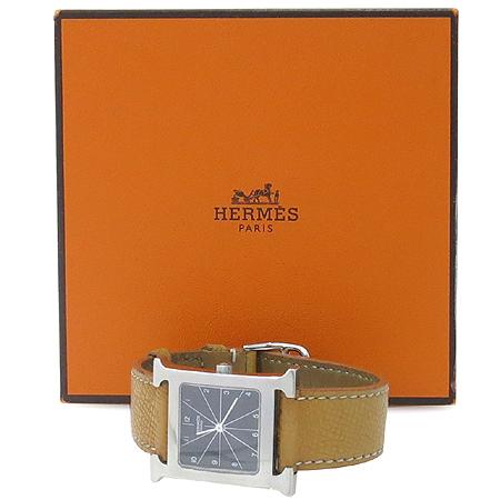 Hermes(에르메스) HH1.510. H-OUR 은장 펜던트 가죽 밴드 남성용 시계