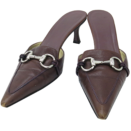 Gucci(구찌) 115170 브라운 레더 은장 장식 여성용 구두