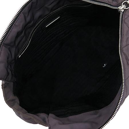 Prada(프라다) BR2656 바이올렛 패브릭 퀄팅 블랙 레더 은장 체인 숄더백