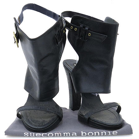 suecomma bonnie(슈콤마보니) 블랙 레더 벨크로 오픈토어 여성 구두