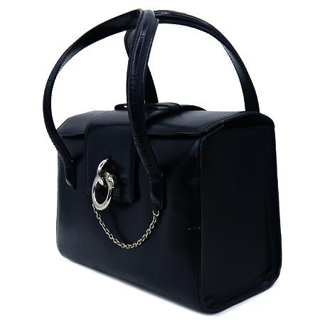 Cartier(까르띠에) 블랙 레더 은장 팬더 고리장식 토트백
