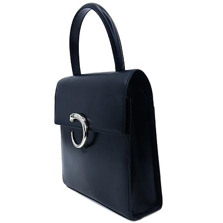 Cartier(까르띠에) 블랙 레더 은장 팬더 토트백