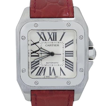 Cartier(까르띠에) W20106X8 산토스 100 M사이즈 오토매틱 레드 크로커다일 밴드 남여공용 시계