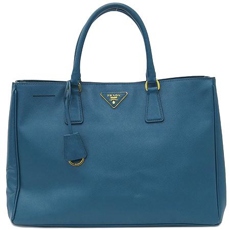Prada(프라다) BN1844 사피아노 럭스 코발트 블루 금장 로고 토트백