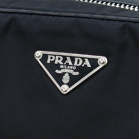 Prada(프라다) BR2307 실버 메탈 로고 블랙 패브릭 레더 토트백