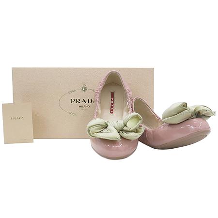 Prada(프라다) 1S870D CAVALLINO 핑크 페이던트 베이지 패딩리본장식 여성용 플랫슈즈