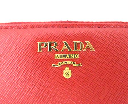 Prada(프라다) 1M0506 레드 사피아노 금장 로고 짚업 장지갑 [분당매장]