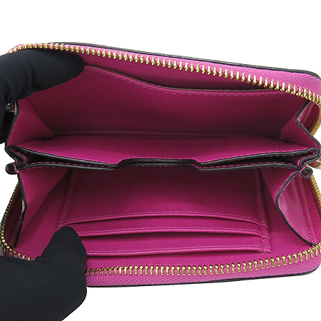 MICHAELKORS(마이클 코어즈) AV-1207 핑크 레더 금장 로고 장식 여성용 중지갑