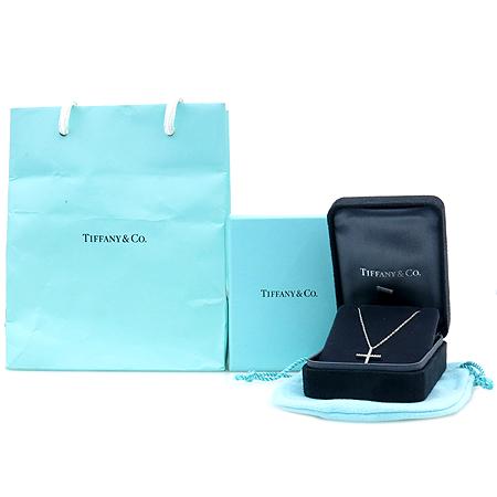 Tiffany(티파니) 18K 화이트 골드 티파니 메트로 다이아 크로스 펜던트 목걸이