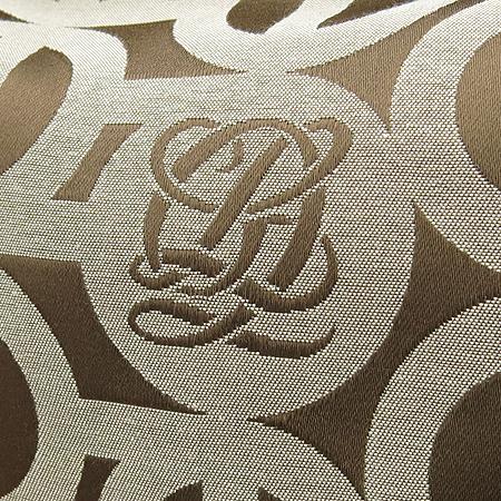 Louis_Quatorze (루이까또즈) 투 포켓 로고 자가드 브라운 레더 트리밍 숄더백
