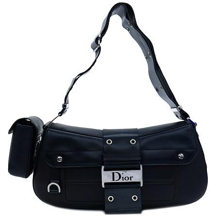 Dior(크리스챤디올) 블랙 레더 은장 로고 장식 벨트 스트랩 숄더백
