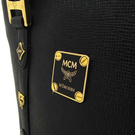 MCM(엠씨엠) 1011052010312 금장 로고 블랙 레더 토트백