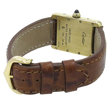 Cartier(까르띠에) W1529856 18K 금통 TANK LOUIS (탱크 루이) 가죽 밴드 여성용 쿼츠 시계