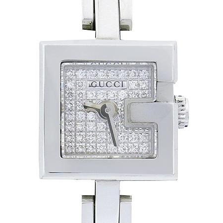 Gucci(구찌) YA102505 102 미니 G로고 다이아 새틴 밴드 여성용 시계 [부산본점]