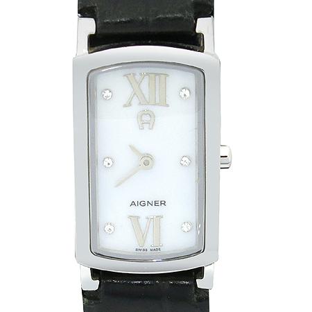Aigner(아이그너) A54200 CREMONA 사각프레임 자개판 장식가죽밴드 여성용시계