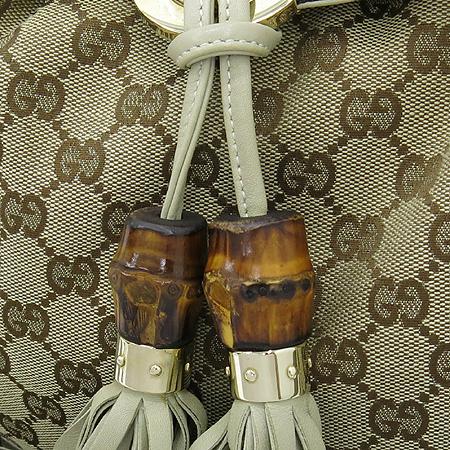 Gucci(구찌) 185566 GG 로고 자가드 뱀부 장식 인디 토트백+숄더스트랩
