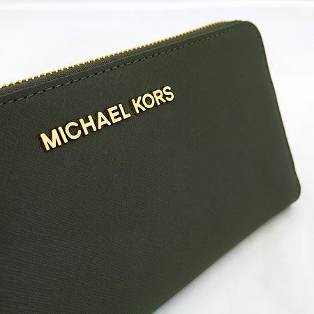 MICHAELKORS(마이클코어스) 32S3GTVE3L 금장 로고 장식 JET SET 사피아노 짚업 장지갑 [일산매장]