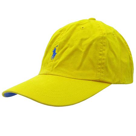 Polo Ralphlauren(폴로)옐로우 패브릭 로고 스티치 모자