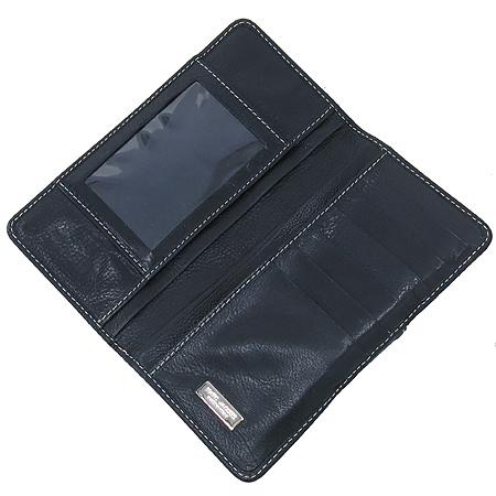 Marc_Jacobs(마크 제이콥스) 은장 버클 블랙 레더 스티치 장지갑
