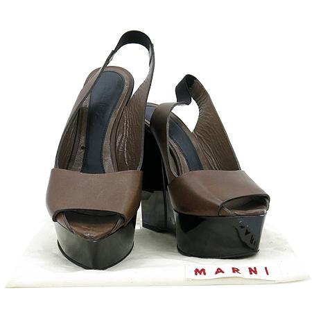 MARNI(마르니) 브라운 레더 오픈토 웨지힐 여성용 구두