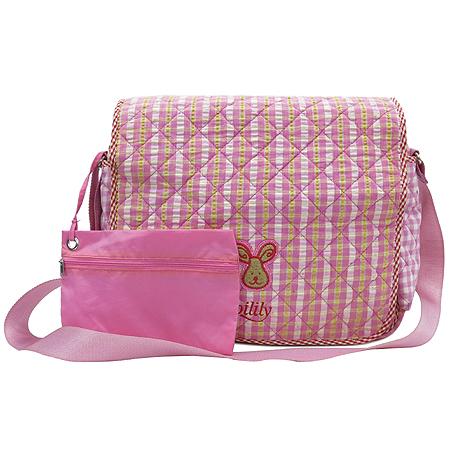 Oilily(오일릴리) 핑크 패브릭 로고 장식 크로스백