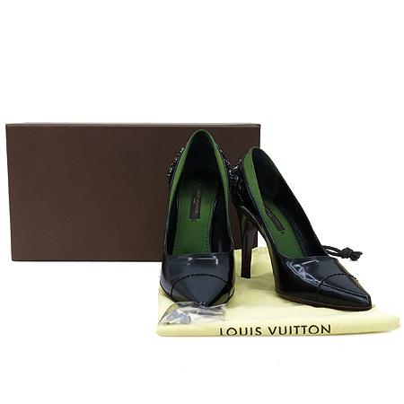 Louis Vuitton(루이비통) 크리스탈 비쥬 장식 실크 레이어드 블랙 레더 펌프스 여성 구두