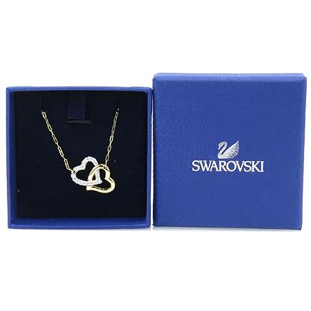 Swarovski(스와로브스키) 금장 더블하트 크리스탈 목걸이
