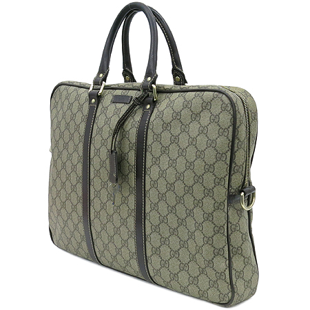 Gucci(구찌) 201480 GG로고 PVC 다크브라운레더 트리밍 서류 토트백