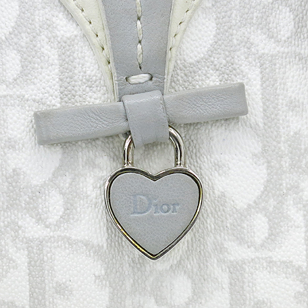 Dior(크리스챤디올) 하트 로고 장식 로고 PVC 은장 체인 토트백