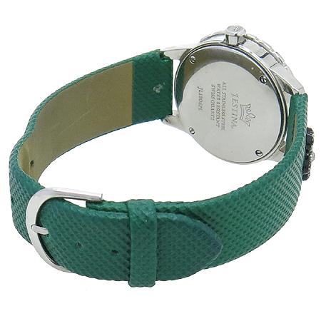 J.ESTINA(제이에스티나) JWPL3WAF 크리스탈 베젤 장식 가죽밴드 여성용 시계