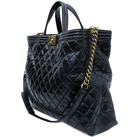 Chanel(샤넬) 빈티지 블랙 레더 보이 쇼퍼 2WAY [압구정매장]