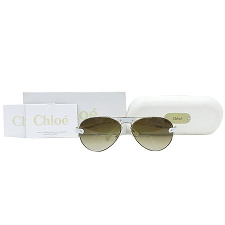 Chloe(끌로에) CL2104 측면 화이트 레더 로고 장식 보잉 선글라스