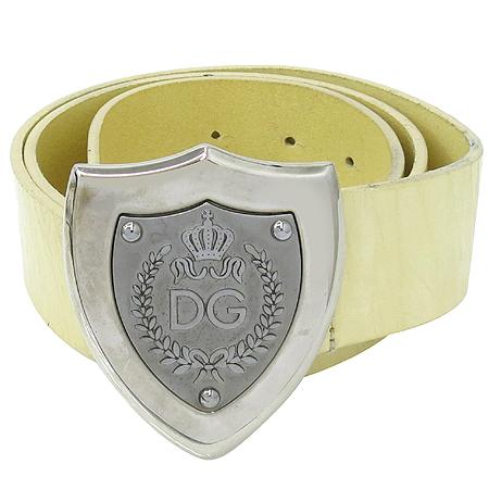 D&G(돌체&가바나) 은장 로고 버클 베이지 에나멜 여성용 벨트