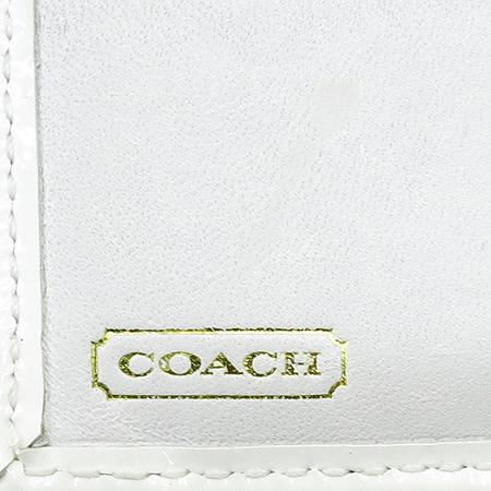 Coach(코치) 시그네처 화이트 애나멜 혼방 금장 락 장식 2단 반지갑