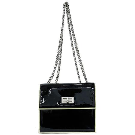 Chanel(샤넬) 2.55 블랙 페이던트 미니 은장 체인 숄더백