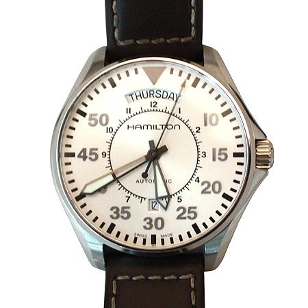 Hamilton(해밀턴) H646150 카키 데이데이트 오토매틱 남성 가죽밴드 시계