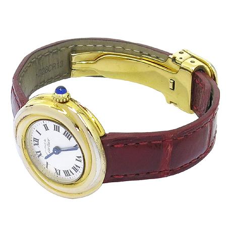 Cartier(까르띠에) 트리니티 SILVER(925) 금장 가죽 밴드 여성용 시계 [명동매장]