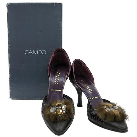 CAMEO(카메오) 퍼 비쥬 장식 파이손 패턴 사이드 오픈 여성용 구두