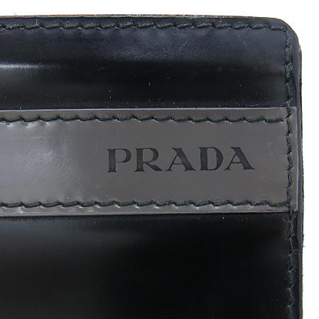 Prada(프라다) 블랙 애나멜 그레이 혼합 6크레딧카드 반지갑