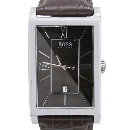 Hugo Boss(휴고보스) 사각프레임 브라운 가죽밴드 남성용시계