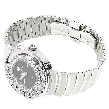 Swarovski(스와로브스키) 1160305 베젤 크리스탈 장식 여성용 스틸 시계