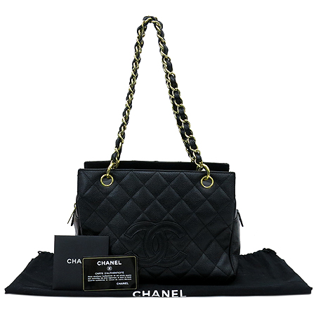 Chanel(샤넬) A18004Y01864 캐비어스킨 블랙 정방 금장 체인 숄더백