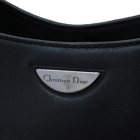 Dior(크리스챤디올) 실버 메탈 로고 블랙 레더 핸들 장식 호보 숄더백