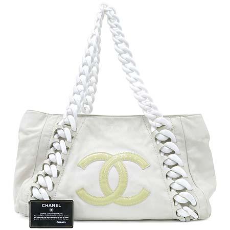 Chanel(샤넬) 럭셔리바이 화이트레더 애나멜 로고스티치 플라스틱 체인 숄더백