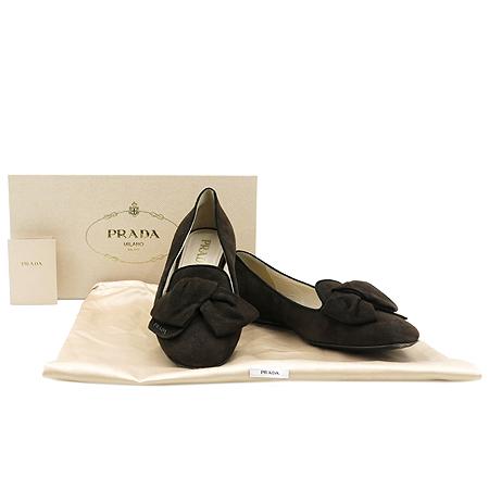 Prada(프라다) 1S870D 리본 장식 브라운 스웨이드 플렛 여성용 구두 [압구정매장]