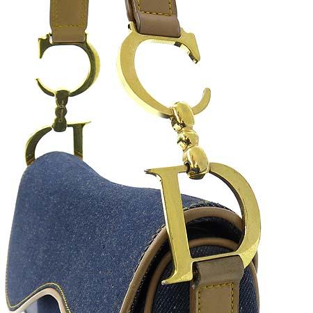Dior(크리스챤디올) 브라운 레더 트리밍 데님 새들 숄더백
