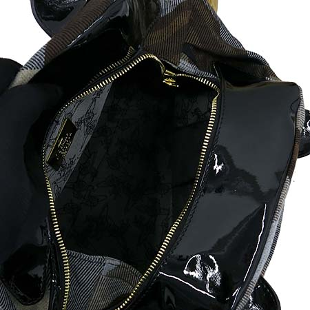 Vivienne_Westwood(비비안 웨스트우드) 골드 메탈 ORB 로고 패브릭 레더 토트백 이미지6 - 고이비토 중고명품
