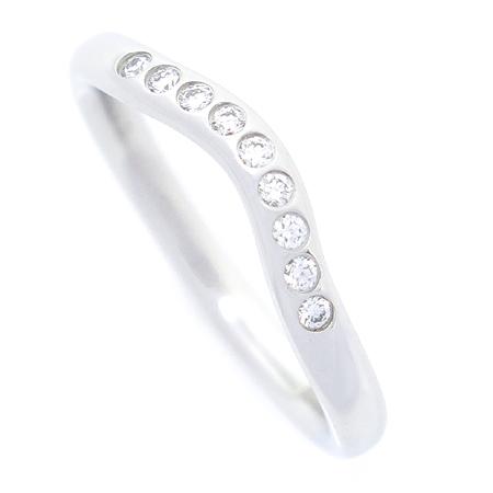 Tiffany(티파니) PT950(플래티늄) ELSA PERETI(엘사 페레티) 9포인트 다이아 커브 반지 - 7 호