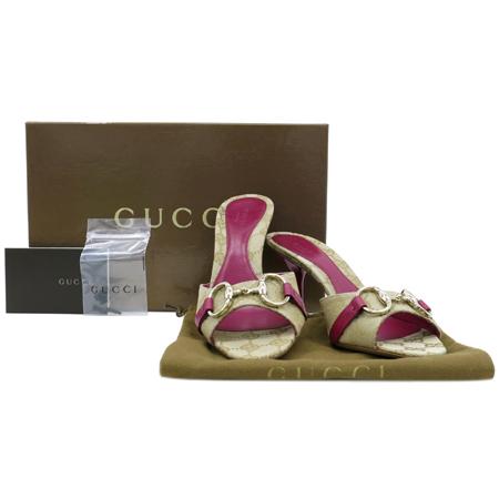 Gucci(구찌) 138532 GG로고 자가드 금장 로고 버클 장식 여성용 샌들