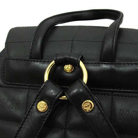 MCM(엠씨엠) 블랙 레더 퀄팅 금장로고 장식 백팩 [부천 현대점] 이미지5 - 고이비토 중고명품